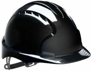 JSP EVO2 Black HDPE Hard Hat Safety Helmet PPE Hats EN 397 AJF030-001-100 UK