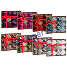 Christmas Glitter Heart Shaped 12pk Baubles Ornaments Assorted Tree Decorations