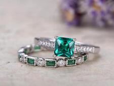 Engagement Ring Bride Set Sterling Silver 3Ct Princess Cut Emerald Green Diamond