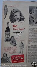 "RC Cola Ad 1947 Lauren Bacall 5.25"" x 14"" Dark Passage Movie Royal Crown Vintag"