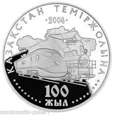 KAZAKHSTAN: 500 Tenge 2004 Silver PF 100TH ANN. OF RAILWAY