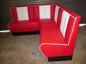 BENCH - AMERICAN RETRO BOOTH BENCH SEAT LEFT L-SHAPE - RED & WHITE 2m x 1.45