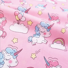 Cute Pink Unicorn Cotton Fabric.Great Quality. Dress,Quilt,home.Kids Cotton. BTY