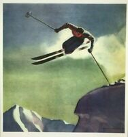 DWIGHT SHEPLER PRINT - 1954 - Cornice Jumper - New Hampshire Skiing