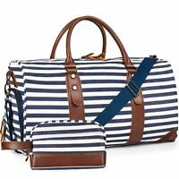 Leather Striped Bag Weekender Style Duffle Travel Canvas Blue White Tote Large