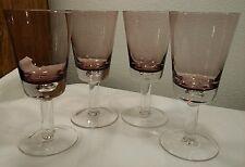 """4 Amethyst/Purple Large Wine 16oz Hand Blown Glass Bubble In Base 8 1/4"""""""