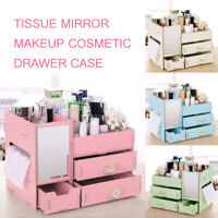 Wood Makeup Cosmetic Organiser Jewelry Storage Box Case Mirror Cabinet Drawer