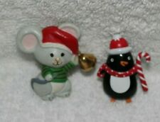 (2)Hallmark Lapel Pins-Mouse w/Bell And Penguin w/Candy Cane
