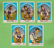 1968 SERIES 1 SCANLENS CANTERBURY BANKSTOWN RUGBY LEAGUE TEAM CARDS, ALL 5 CARDS