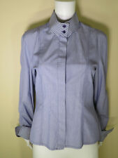 Ron Leal 100% Cotton L/Sleeve Button Front Career Blouse Size 8 Modest Neckline
