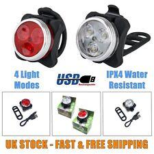 USB Rechargeable 3 LED Bike Lights Set MTB Road Cycle Lights Weatherproof 4 Mode