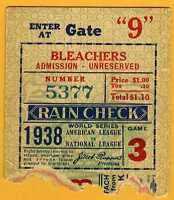 1938 World Series ticket stub New York Yankees Chicago Cubs Gm 3 Bill Dickey HR