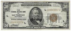 1929 US $50 FIFTY DOLLAR SAN FRANCISCO BILL FR1880L LOW SERIAL - UGRADEIT