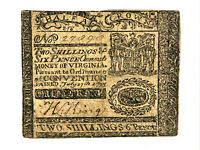 1775 Virginia Colonial Note Currency 2 Shillings 6 Pence VA-72a PMG 30 very fine