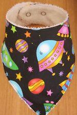 Handmade bandana bib- Rockets and spaceships