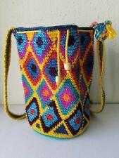 Handmade Woven Crochet Crossbody Drawstring Bucket Bag Tote Rugged Folk Crafts