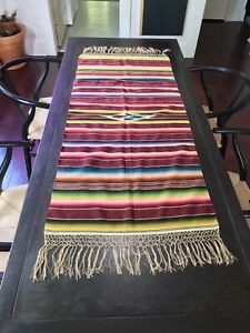 """Mexican Sarape Wool Vintage Antique Vibrant Colors Hand Knotted Fringe 23""""x49"""""""