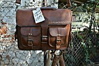 New Bag Leather Vintage Messenger Shoulder Men Satchel Laptop School $ Briefcase