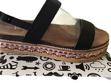 Bamboo Fab Women's Strappy  Studded Platform Sandals Natural Size 10 Boho