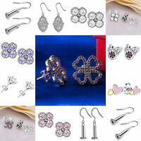 Elegant Lady Ear Stud Dangle Earrings Cubic Zirconia Fashion 925 Silver Jewelry