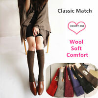 3Pairs Women 90%Wool Cashmere Knee-High Thick Warm Girl turnup Design Boot Socks