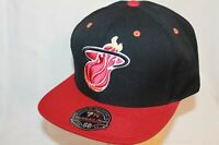 "Miami Heat Fitted Hat Cap ""Black 2tone HWC ORG Eyelets"" Mitchell and Ness NBA"