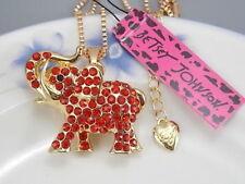 Betsey Johnson fashion jewelry Red Crystal elephant pendant necklace # H