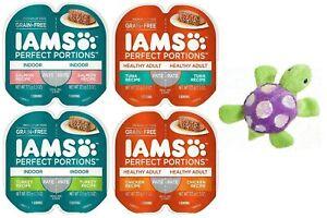 Iams Perfect Portions Grain Free Pate Cat Food, 4 Flavor Bundle (8 Servings) ...