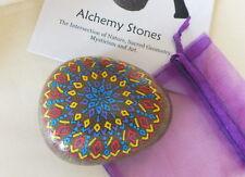 Hand Painted Alchemy Stone with Blue, Red, Purple & YellowMandala Design