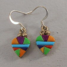 .925 STERLING SILVER TURQUOISE AND MULTI STONE HEART EARRINGS