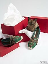 Valentino Racer Green Leather Embroidered Lace Espadrilles 39 UK 6
