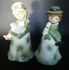 "Vintage Boy & Girl St Patrick's Day Bells 5"" Shamrocks"