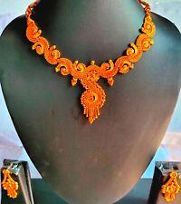 22K Gold Plated Indian Wedding 8'' Pakistani Necklace Earrings SETA