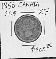 CANADA - FANTASTIC SCARCE SINGLE YEAR ISSUE QV SILVER 20 CENTS, 1858 KM# 4