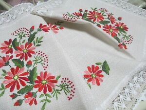HAND EMBROIDERED FLORAL-THEMED TABLE RUNNER FROM GERMANY
