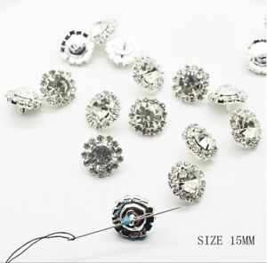 16mm Shank Rhinestone Buttons Bling Diamante Clothing Hand Sewing Embellishment