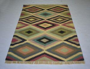 Handmade Cotton Kilim Area Rug Play Room & Dinning Room Rug 4x6 Feet DN-1454