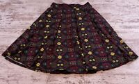 Womens Lularoe Madison Skirt Pleated Size XS Pockets Black Neon Below the Knee