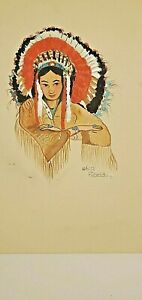 "Original Native American Painting of BEAUTIFUL INDIAN GIRL by ""WHITE FLOWER"""