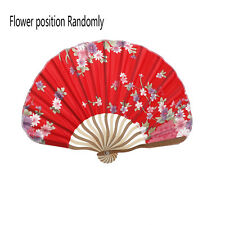 1chinese Colorful Japanese Bamboo Hand Held Folding Floral Pattern Stain Fan 3c Red