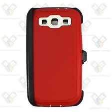 For Samsung Galaxy S3 RED WHITE Defender Case (Belt Clip Fits Otterbox)