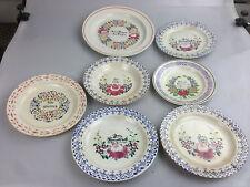 7x sehr alte Spruch Teller Keramik, gemarkt, 1x Villeroy Boch ua. vor 1900 Antik