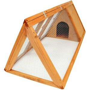 NEW! Wooden Outdoor Triangle Rabbit Guinea Pig Pet Hutch Run Cage