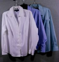 Jones NY Signature Woman Shirt Blouse Size 1X Long Sleeve, V-Neck Button Down