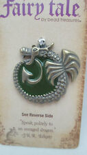 Fairy Tale Ant. Gold Toned w/ Green Acrylic Enraged Dragon Pendant