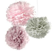 Pink & Grey Paper Pom Poms Decorations x 3 wedding / party venue decoration