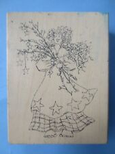 JUDITH  holding flowers wood mtd rubber stamp