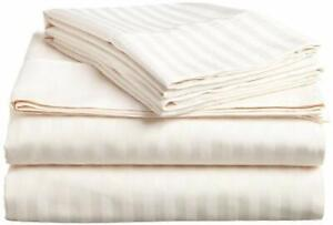 100% Cotton Twin Bedsheet with 1 Pillow Covers Ivory Satin Striped Bedsheet