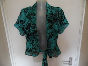 Ladies Turquoise & Black Floral Short Sleeve, Buttonless, Ties Waist Top Size 14