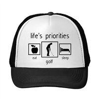 Life'S Priorities Golf Funny Adjustable Trucker Hat Cap